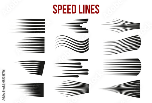 Fotografía  Speed lines black for Manga and Comic vector elements on white background
