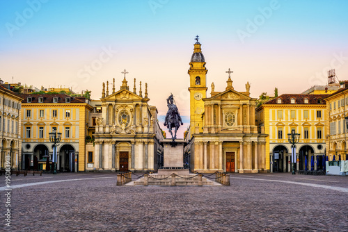 Turin city, Piazza San Carlo on sunrise, Italy