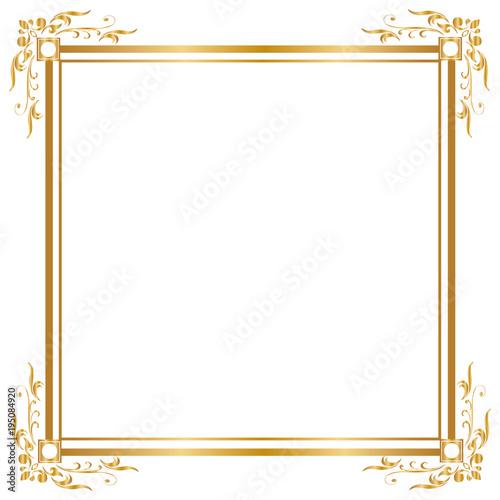 gold frame border square. Decorative Frame And Border, Square, Golden On White Background,  Vector Illustratio Gold Border Square