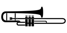 Isolated Trombone Icon. Musica...