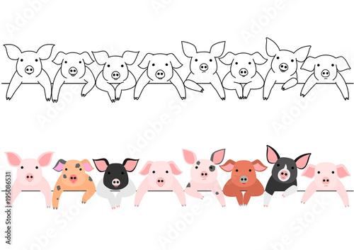 Fototapeta little pigs border set