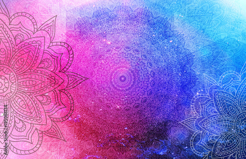 Deurstickers Boho Stijl Mandala Background