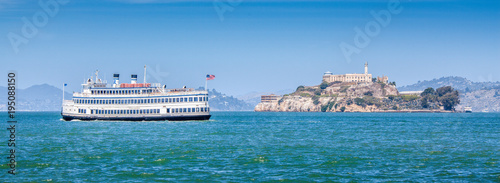 Canvas Prints San Francisco Alcatraz Island with historic excursion boat, San Francisco, California, USA