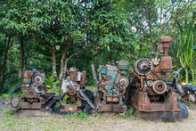 Old And Rusty Unworkable Diesel Engines Left Unsused