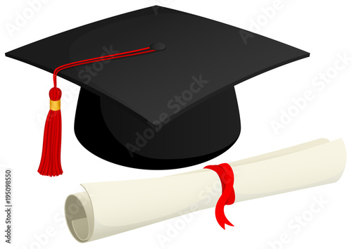 Tela Vector illustration of a graduation cap and a rolled diploma.