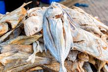 Close Up Sun-dried Fish On Woo...