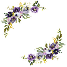 Wedding Frame Wreath Green And Purple Flowers Ornament