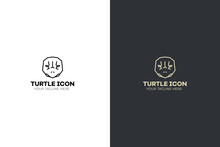 Stylized Geometric Turtle Head Illustration. Vector Icon Tribal Tortoise Design.