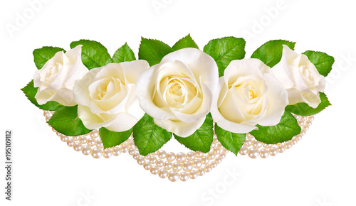 Composition with white roses and pearls. Isolated on white background