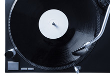 Turntable With Black Record And Headshell