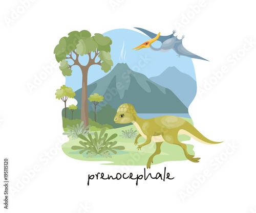 Valokuva The image of a dinosaur against the background of a prehistoric landscape