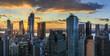 View to Manhattan at sunset, New York, USA