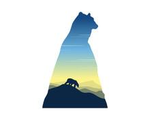 Silhouette Of Polar Bear At Sunrise Landscape