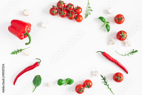 Foto op Aluminium Milkshake Vegetables on white background. Frame made of fresh red vegetables. Tomatoes, peppers. Flat lay, top view, copy space