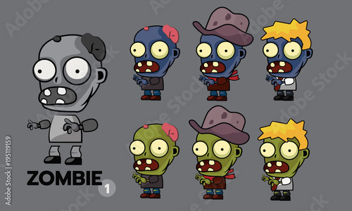 Zombie Character Cartoon Style Sprites Set Runner Cowboy
