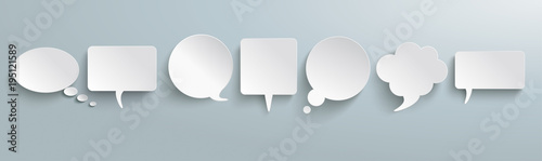 Fotografía  White Paper Speech Bubbles Gray Header