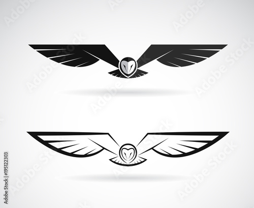 Photo Stands Owls cartoon Vector of an owl design on a white background. Bird. Animals. Easy editable layered vector illustration.