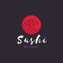 Sushi Logo,Japan Restaurant Wave Logo Template.