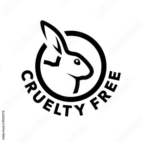 Fototapeta premium Projektowanie logo koncepcji wolnej od okrucieństwa z symbolem królika. Nie testowane na ikonie zwierząt. Ilustracji wektorowych.