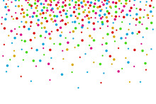 Watercolor Rainbow Colored Confetti Border With Space For Text