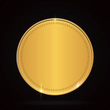 Empty Golden Coin On The White...