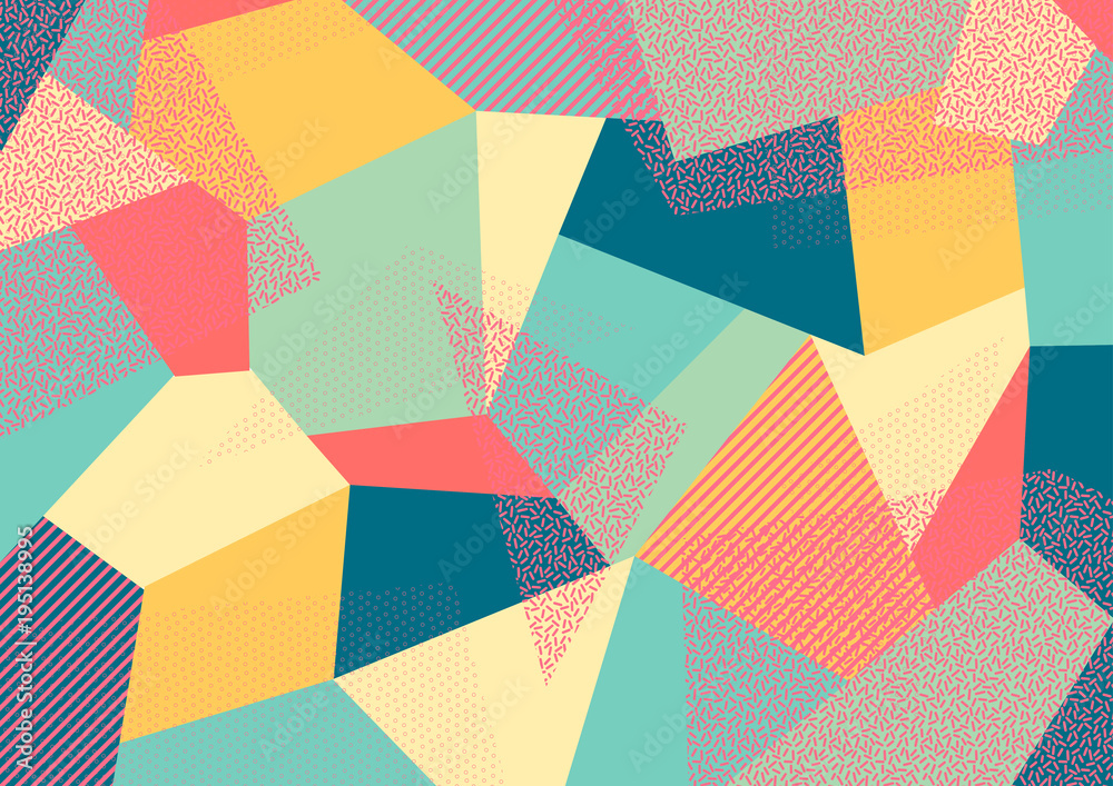 Fototapeta Creative geometric colorful background with patterns. Collage. Design for prints, posters, cards, etc. Vector.