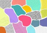 Creative geometric colorful background with patterns. Collage. Design for prints, posters, cards, etc. Vector. - 195139514