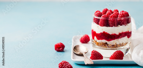 Keuken foto achterwand Dessert Raspberry dessert, cheesecake, trifle, mouse in a glass. Copy space