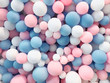 canvas print picture - Many colorful balloons decorated wall as background