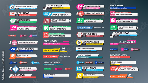 Fototapeta TV News Bars Set Vector. Breaking, Sport News. Media labels Tag For Television Broadcast. Isolated Illustration obraz
