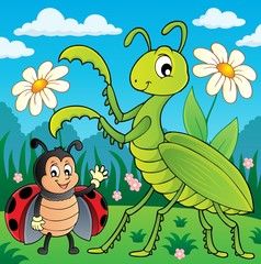 Fototapeta Do przedszkola Meadow with praying mantis and ladybug