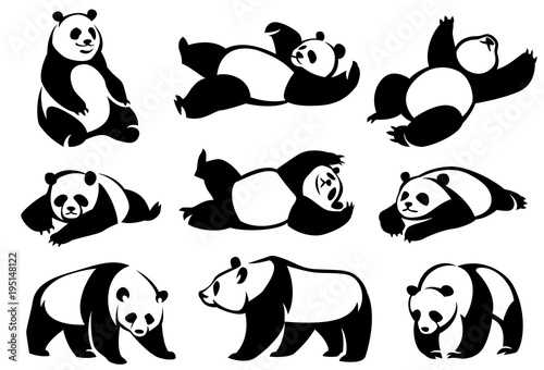 Set of decorative illustrations pandas. Canvas Print