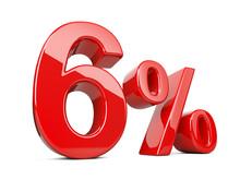 Six Red Percent Symbol. 6% Per...