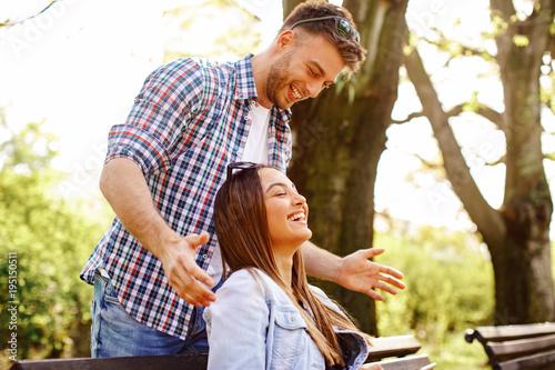 Boyfriend surprises her girlfriend in the park Poster