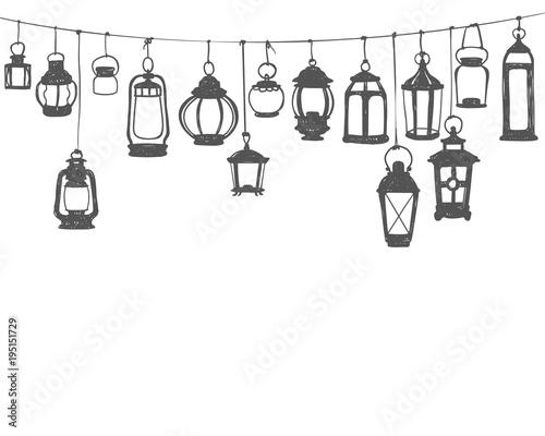 Hunging lanterns. Black on white doodle illustration Wallpaper Mural