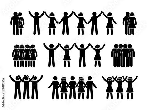 Fotografía  Stick figure group people icon