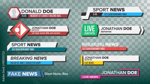Fototapeta TV News Bars Set Vector. Streaming Video News Sign. Breaking, Sport News. Interface Sign. Isolated Illustration obraz