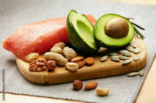 Healthy Fats. Fresh Organic Food On Table Canvas Print