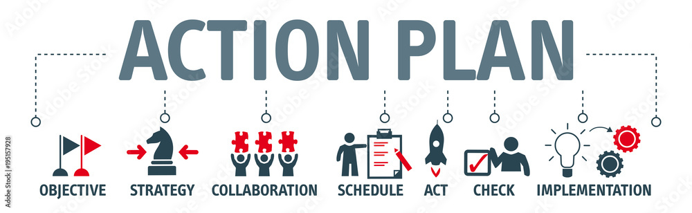 Fototapety, obrazy: Banner action plan concept vector illustration with keywords and icons