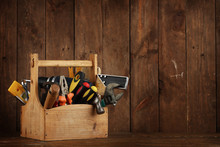 Retro Wooden Toolbox