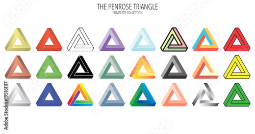 Fotografie, Tablou Penrose impossible triangle collection