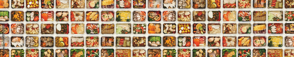 Fototapety, obrazy: Set of take away food boxes at white background