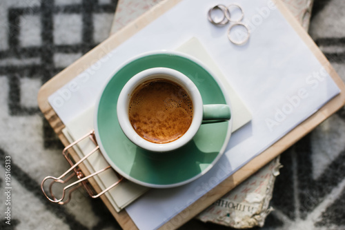 Delicious freshly brewed morning espresso coffee with a beautiful crema in a gre фототапет