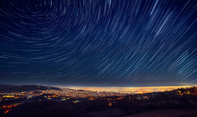Night Sky Star Trail Over The ...
