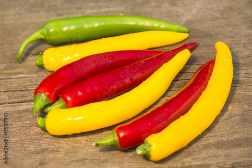 Staande foto Hot chili peppers a colorful mix of the freshest and hottest chili peppers