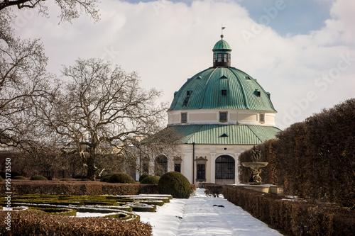 Photo  Rotunda in flower gardens Kvetna Zahrada in Kromeriz