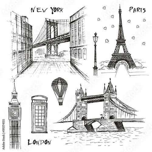 Foto op Canvas Doodle Paris, London and New-York vector drawings set