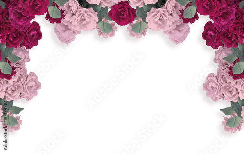 Roses isolated on white background and place for your photo or text. Floral garland.