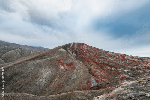 Foto op Aluminium Grijze traf. Amazing striped red mountains