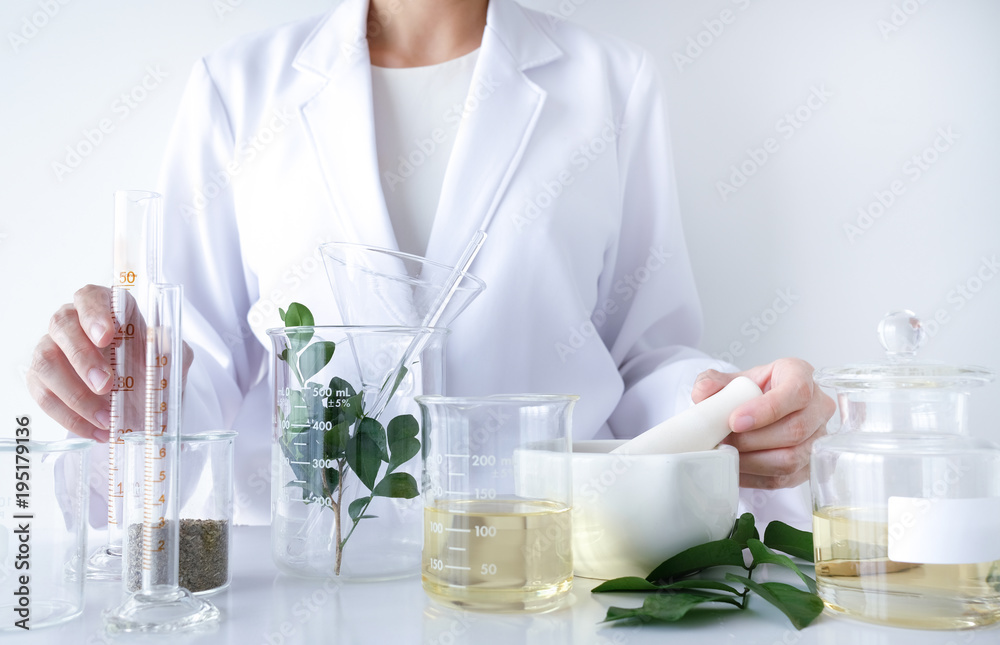 Fototapety, obrazy: the scientist,doctor, make alternative herb medicine with herbal the organic natural in the laboratory. oil capsule, natural organic skincare and cosmetic.